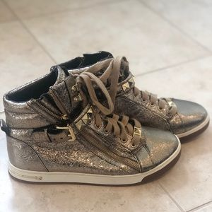 Women's- Michael Kors gold studded high tops